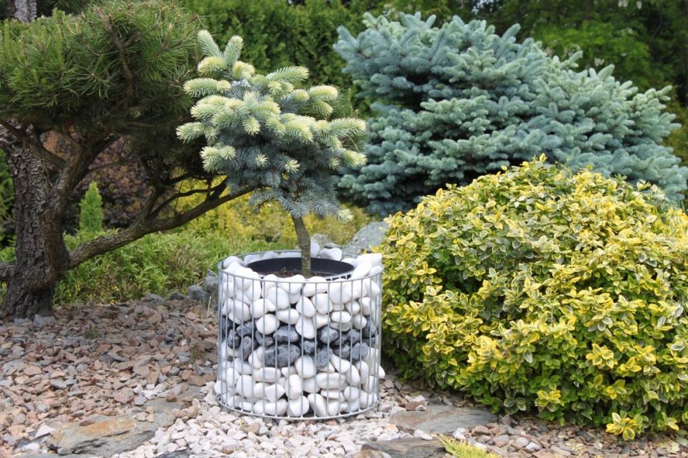 Gabiónový kvetináč ovál priemer 39 cm, výška 32 cm