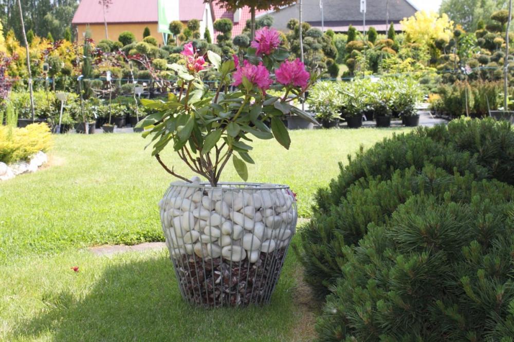 Gabiónový kvetináč váza, výška 38cm, šírka 42cm, prieměr vsadky 25cm