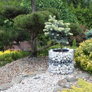 Gabiónový kvetináč ovál priemer 25cm, prieměr 39 cm
