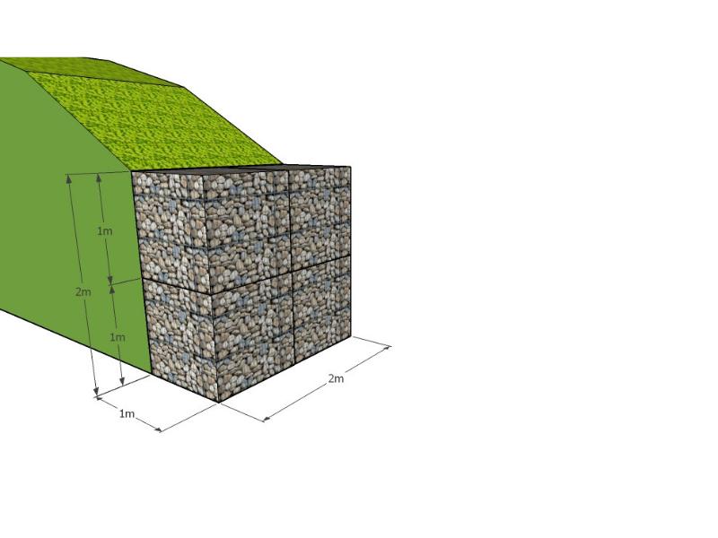 Ukázka malých opěrných zdí z gabionových košů